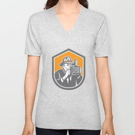 Photographer Vintage Camera Shield Retro Unisex V-Neck