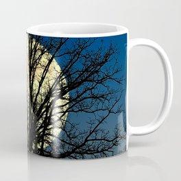 Modern Tree and Moon Over Midnight Blue Lake Art A479 Coffee Mug