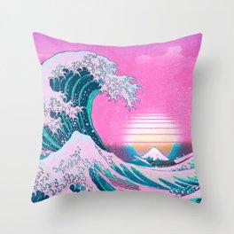 Vaporwave Aesthetic Great Wave Off Kanagawa Sunset Throw Pillow