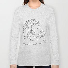 Minimal Line Art Ocean Waves Long Sleeve T-shirt