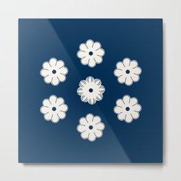 Aligned beige flowers on a dark blue Metal Print