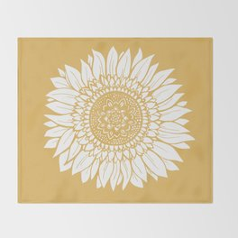 Yellow Sunflower Drawing Throw Blanket
