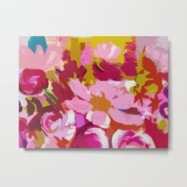 Abstracted Flower Painting in Hot Pink, red, spring green Metal Print