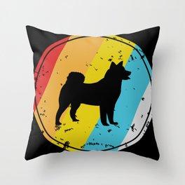 Retro Husky Dog Throw Pillow