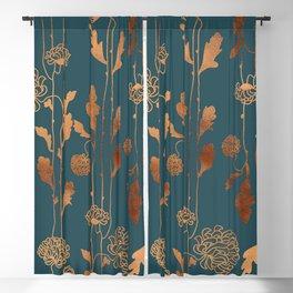 Art Deco Copper Flowers  Blackout Curtain