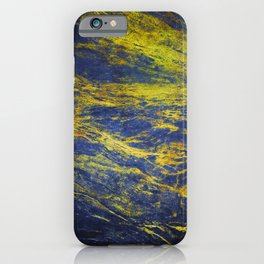 Classic Vintage Blue Faux Marble With Gold Veins iPhone Case