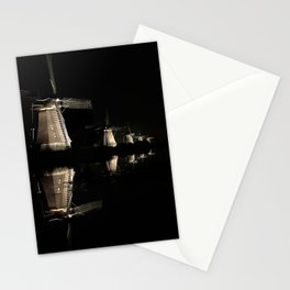Floating illuminated windmills in the night Stationery Cards