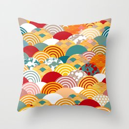 Nature background with japanese sakura flower, orange red pink Cherry, wave circle pattern Throw Pillow