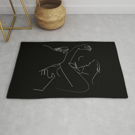 One line couple kiss black  Rug