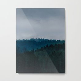 Dark Moody MIsty Blue Teal Foggy Misty Pine Tree Forest LandscapeDark Moody MIsty Blue Teal Foggy Mi Metal Print