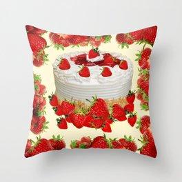 DELICIOUS STRAWBERRY  PARTY CAKE DESSERT Throw Pillow