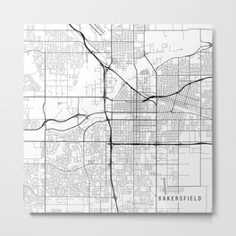 Bakersfield Map, USA - Black and White Metal Print