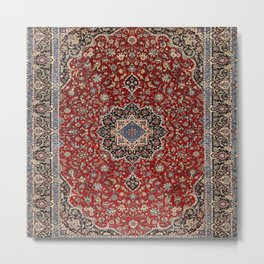 N63 - Red Heritage Oriental Traditional Moroccan Style Artwork Metal Print