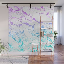White marble purple blue turquoise ombre watercolor mermaid pattern Wall Mural