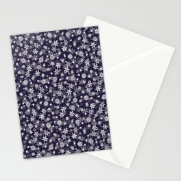 Festive Eclipse Blue and White Christmas Holiday Snowflakes Stationery Cards