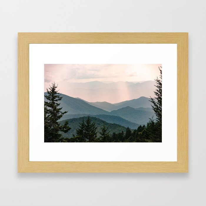 Smoky Mountain Pastel Sunset Gerahmter Kunstdruck
