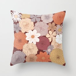 Retro Floral Wallpaper Design Throw Pillow