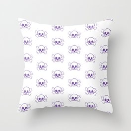Purple Skull and Crossbones Pattern and Print Throw Pillow