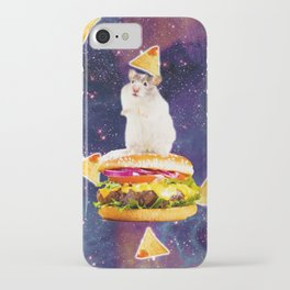 Space Hamster Riding Burger With Nachos iPhone Case