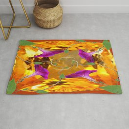 Sherry Topaz Gem & Purple Morning Glories Design Rug