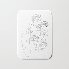 Minimal Line Art Woman with Flowers III Bath Mat