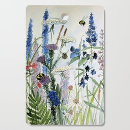 Wildflower in Garden Watercolor Flower Illustration Painting Cutting Board