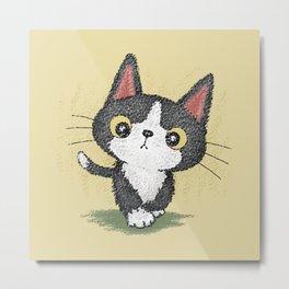 Black kitten walking Metal Print
