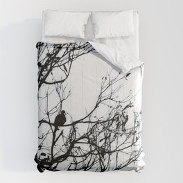 Dove Bird & Winter tree Silhouette Comforters