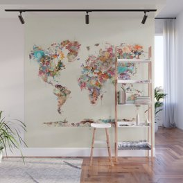 world map watercolor deux Wall Mural