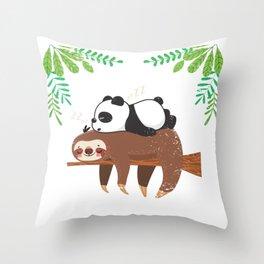 Sloth Panda Throw Pillow