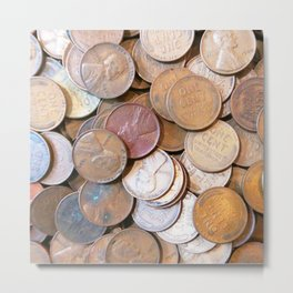 Watercolor Coins, Lincoln Wheat Pennies, 1939 03 Metal Print