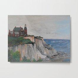 Block Island Lighthouse and Mohegan Cliffs Metal Print