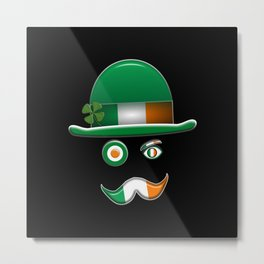 Irish Flag Face. Metal Print