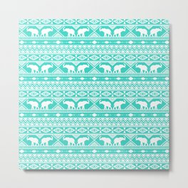 Elephant Tribal Mint Metal Print