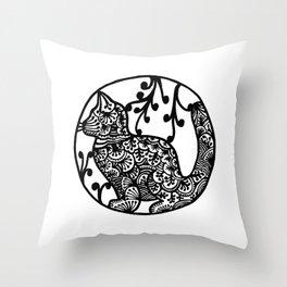Boho Cat Illustration Black and White Paisley Throw Pillow