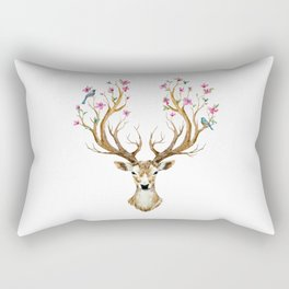 Beautiful deer with big antlers, flowers, birds on the horns, branches cherry. Nature watercolor illustration hand paited  Rectangular Pillow