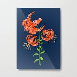 Tiger Lilies (Navy Blue Background) Metal Print
