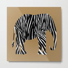 Zebra Elephant Safari Metal Print
