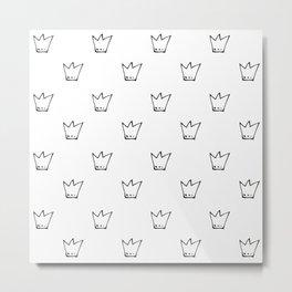 Black Crowns Pattern Metal Print