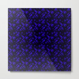 Geometric iridescent design with circles and blue rectangles from stripes. Metal Print