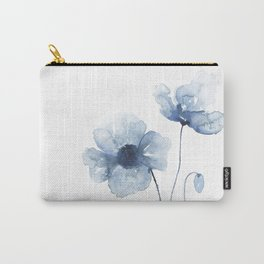 Blue Watercolor Poppies Carry-All Pouch