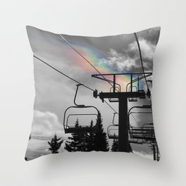 4 Seat Chair Lift Rainbow Sky B&W Throw Pillow
