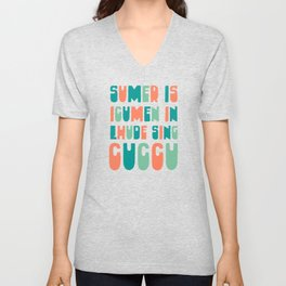 Sumer Is Icumen In - Medieval Music Cuckoo Song Typography to Celebrate Summer Unisex V-Neck