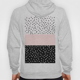 Pink white black watercolor polka dots Hoody