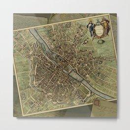 Old Paris Map and other manuscripts Metal Print