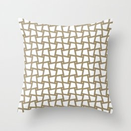 SHINGLE warm taupe repeat pattern on white background Throw Pillow