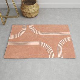Mid Century Modern 2 - Geometrical Abstract - Minimal Print - Terracotta Abstract - Burnt Sienna Rug