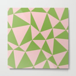 Abstract triangles - rose quartz and greenery Metal Print