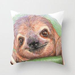 The Smiling Sloth Throw Pillow