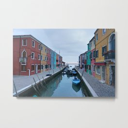 Colorful Houses with Boats in Burano, Venice, Italy Metal Print